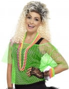 T-shirt court résille vert années 80 femme