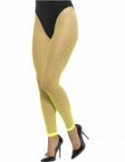 Collants résille grande maille sans pieds vert fluo femme