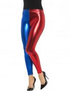 Legging métallisé bicolore bleu et rouge femme