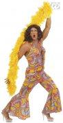 Déguisement travesti disco-hippie multicolore homme