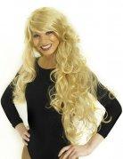 Longue perruque blonde bouclée à frange