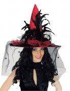 Chapeau satinée rouge avec voile et plumes adulte Halloween