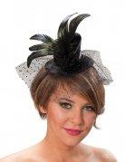 Mini chapeau femme noir plumes et tulle DE