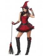 Enchanting Witch Halloween Ladies Costume black-red