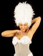 Perruque burlesque de plumes blanches