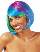 Perruque carrée fluo multicolore femme