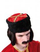 Chapeau cosaque Russe noir et rouge adulte