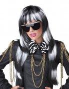 Perruque femme cheveux longs pop star noire et blanche DE