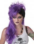 Perruque femme punk violet-noir