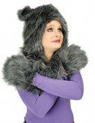 Capuchon de chat avec oreilles peluche femme gris