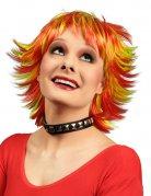 Perruque courte avec mèches jaunes et rouges