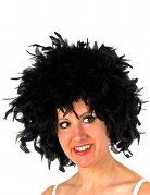 Perruque afro plumes noires femme