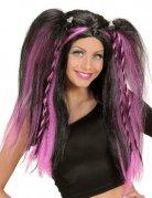 Perruque gothique rose noire femme