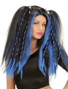 Gothic Cosplay-Wig Ponytails black-blue