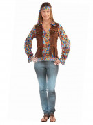 Déguisement de hippie multicolore avec franges femme