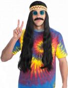 Perruque hippie noire avec bandeau