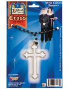 Collier croix blanc et noir