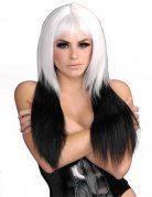 Cosplay Long Hair Wig With Queues white-black