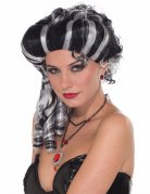Perruque vampire baroque noir et blanc femme