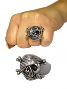 Gothic Metal Ring Half Wrapped Skull and Bones silver