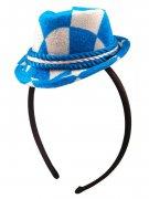 Serre-tête Oktoberfest avec mini chapeau à damier bleu - blanc