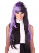 60s Long Hair Wig purple-black