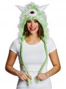 Chapeau monstre vert avec fourrure adulte