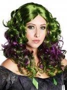 Perruque sorcière femme cheveux  longs verts et violets
