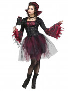 Victorian Gothic Vampire Halloween Ladies Costume black-red
