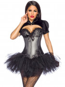 Noble Gothic Burlesque Corsage with Lace grey-black