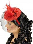 Mini chapeau sorcière rouge avec voile femme Halloween