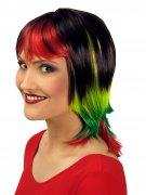Perruque lisse cheveux courts avec frange multicolore