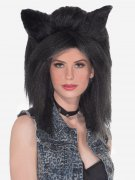 Female Wolf Long Hair Wig With Ears black