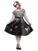 50s Zombie Halloween Ladies Costume Oversize black-white