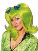 Perruque cheveux verts avec papillons bleus