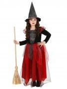 Déguisement de sorcière noire et rouge fille Halloween
