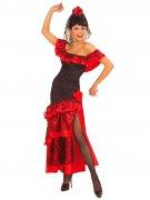 Déguisement danseuse de flamenco noir et rouge femme
