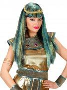 Perruque antique Égyptienne Cléopâtre noir-or-turquoise