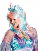Perruque cheveux longs multicolore licorne