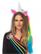 Serre-tête licorne avec traine multicolore adulte