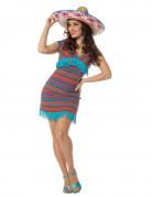 Déguisement robe mexicaine turquoise femme
