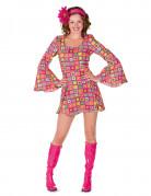 Déguisement disco carrés roses femme