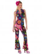Déguisement hippie rock multicolore femme