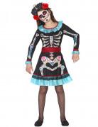 Déguisement squelette coloré bleu fille Dia de los muertos