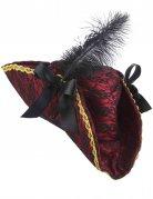 Chapeau de pirate rouge avec plume adulte