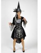 Déguisement sorcière araignée noire et grise femme Halloween