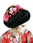 Perruque chinoise noire avec fleurs adulte