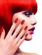 Faux ongles adhésifs rouge pailletés adulte