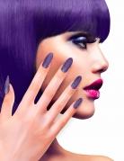 Faux ongles adhésifs violets pailletés adulte