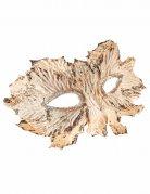 Masque blanc avec feuilles pailletées or femme